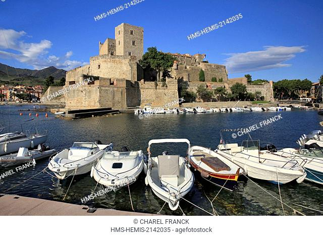 France, Pyrenees Orientales (66), Collioure, Boats moored at the foot of the royal castle of Collioure