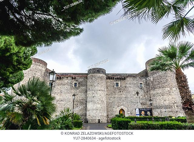 13th century Bear Castle (Castello Ursino also known as Castello Svevo di Catania) in Catania city on the east side of Sicily Island, Italy