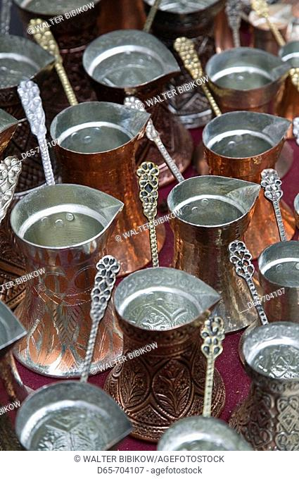 Bosnia Hercegovina. Sarajevo. Bascarsija Ottoman Era Old Town. Coffee Pots