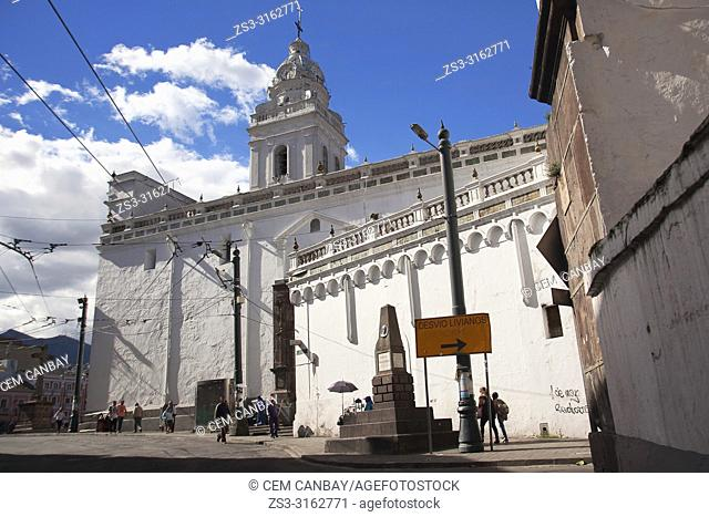 People in front of the Convent and Museum of Santo Domingo at the historic center, Quito, Ecuador, South America