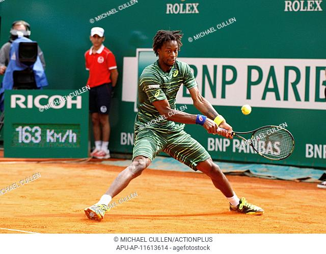 2015 Monaco Masters Tennis Tournament Apr 17th. 17.04.2015 Monte Carlo, Monaco, Gael Monfils in action against Grigor Dimitrov