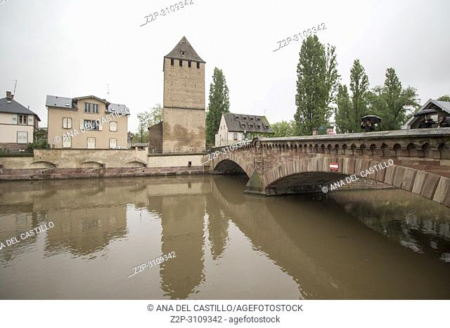 """Cityscape in Strasbourg in Alsace. France. Ponts Couverts is located in the historic district """"""""Petite. France"""""""""""