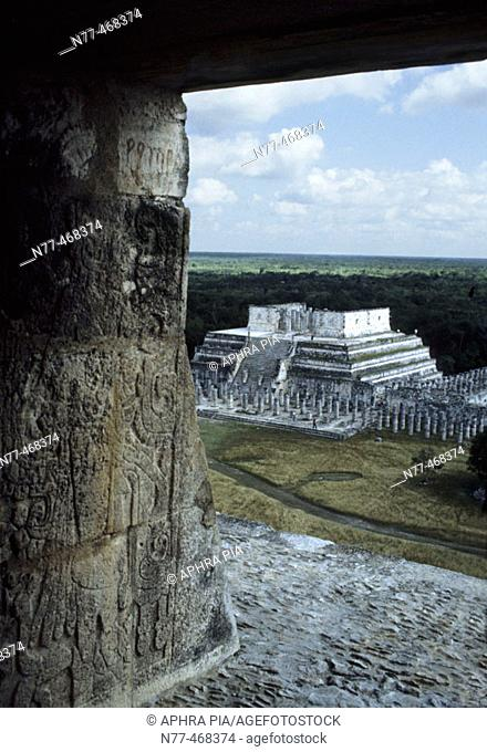 Temple of Warriors. Maya Architecture /Toltec influence. Chichen Itza, Yucatan, Mexico