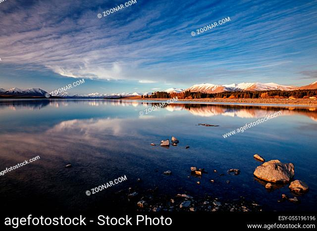 Majestic Lake Tekapo at sunset on a cool spring evening in New Zealand