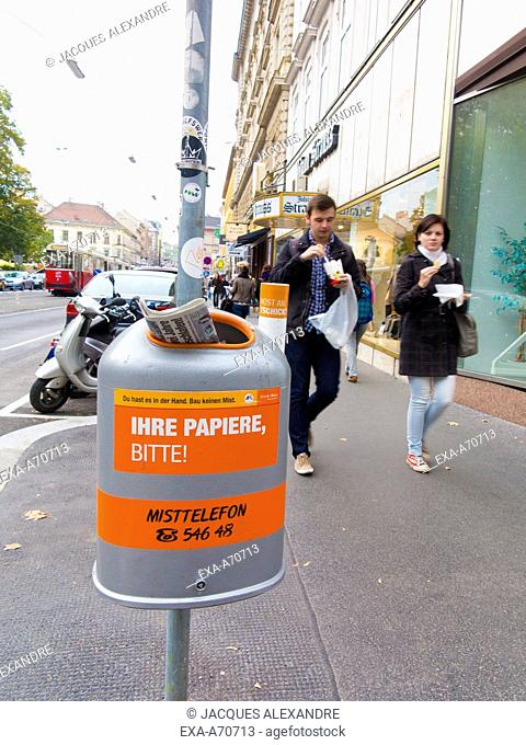 labeled trash cans in Vienna, Austria