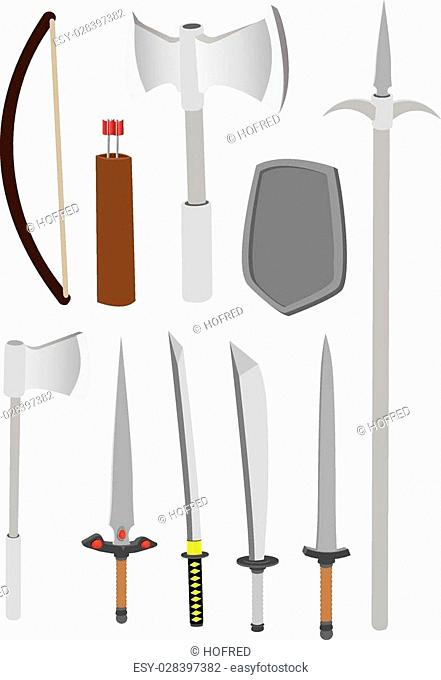 Vector illustration of different types of medieval combat weapons such as axe, bow, arrows, knife, sword and spear, isolated on white background