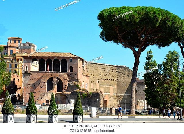 Buildings of ancient Rome at the street Via dei fori imperiali in the Italian capital - Italy