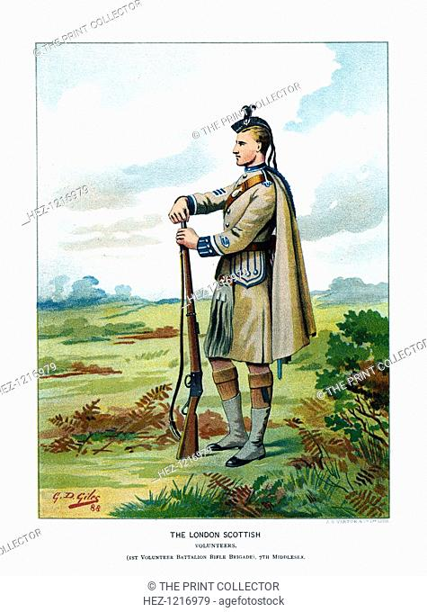 'The London Scottish', c1890. A coloured lithographic plate from Her Majesty's Army by Walter Richards, JS Virtue & Company, (London, c1890)