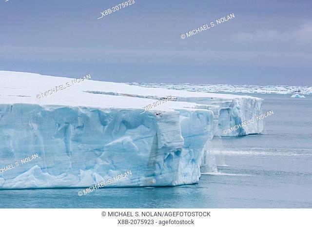 Melt water cascading off Austfonna, Nordaustlandet, Svalbard, Norway