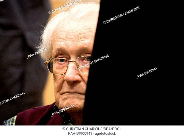 Defendant Oskar Groening (C) sits during the continuation of his trial at a courtroom in Lueneburg, Germany, 08 July 2015