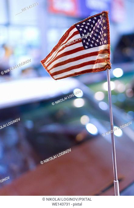 Vertical vivid USA flag bokeh background