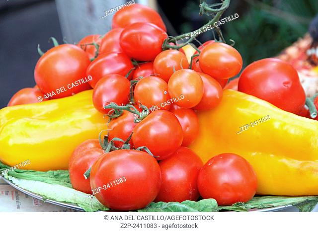 Cherry tomatoes and yellow peppers Rome