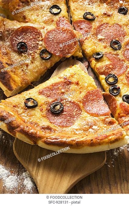 Pizza with salami, cheese and olives, pieces cut