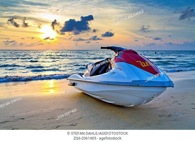 Jetski at Sunset Light at Karon Beach on Phuket, Thailand