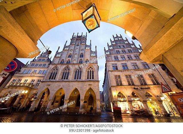 historic city hall on Prinzipalmarkt street at night, Münster, North Rhine-Westphalia, Germany, Europe