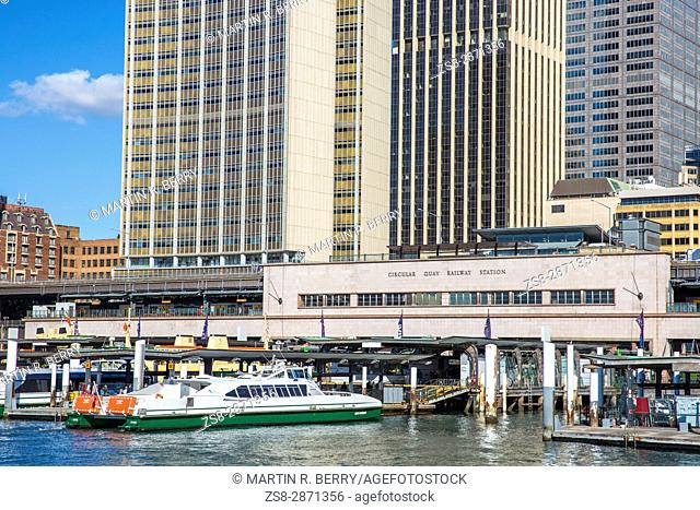 Sydney Circular Quay with railway station and ferry terminus,New south wales,Australia