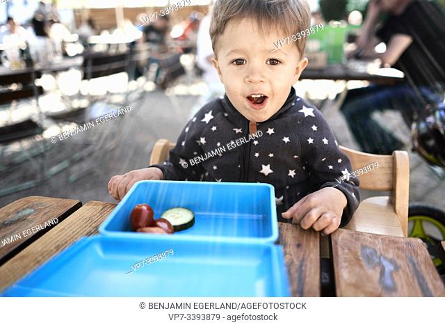 lively toddler child with healthy lunch box containing tomatoes and cucumber at table outdoors, at Herrenchiemsee, Chiemsee, Bavaria, Germany