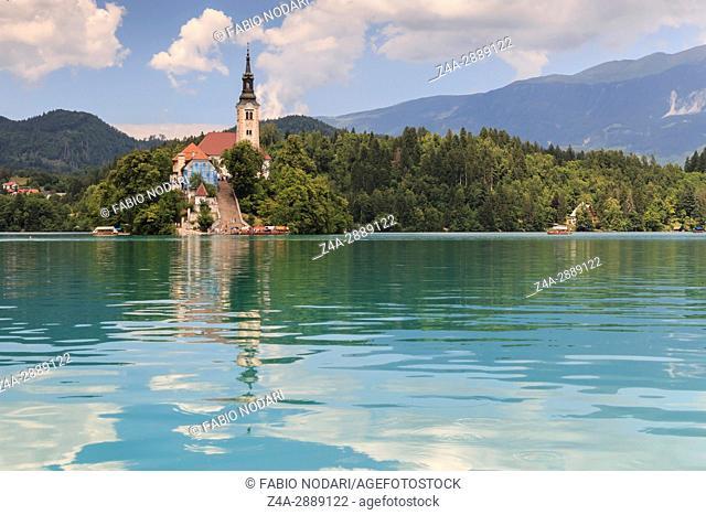 Lake Bled in Slovenia with Cerkev Marijinega Vnebovzetja Church in island