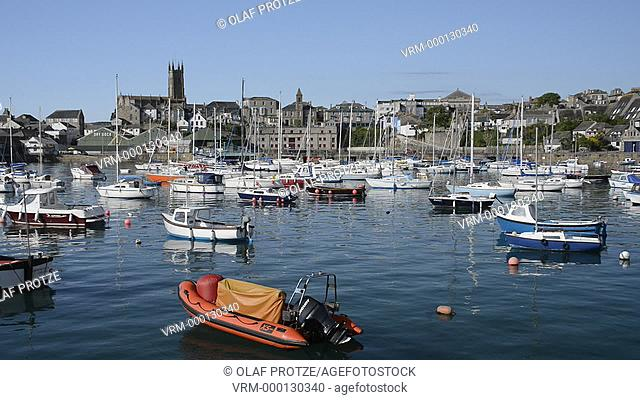 View over the marina of Penzance, Cornwall, England, UK