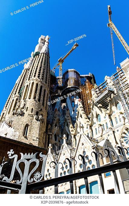 Basilica of Sagrada Familia by architect Antoni Gaudi in Barcelona, Catalonia, Spain
