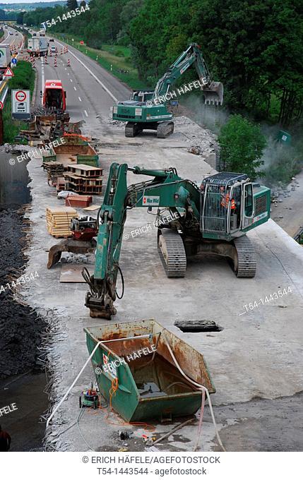 Demolition of a highway bridge