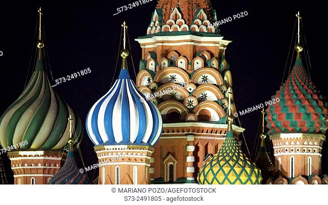 Night view of the Russian Orthodox Cathedral of St. Basil in Red Square in Moscow, Russia