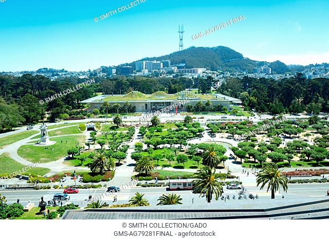 Aerial view of Golden Gate Park and the California Academy of Sciences, including Music Concourse Drive, San Francisco, California, July, 2016