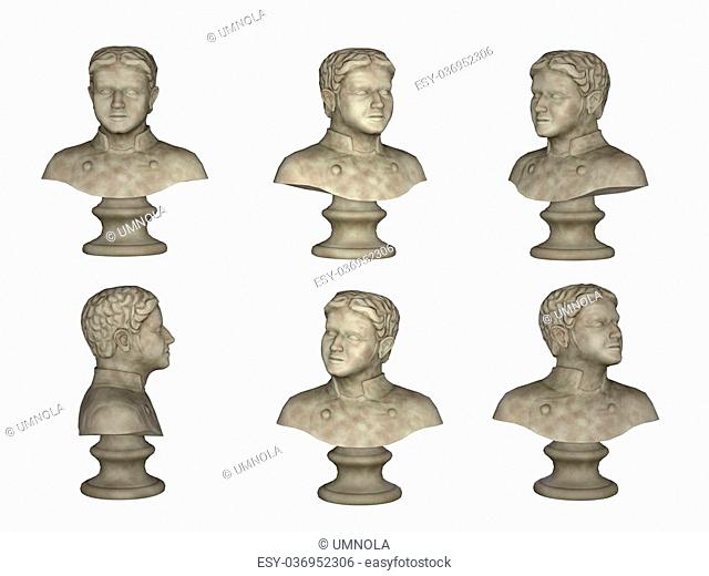 male bust isolated on white background, man