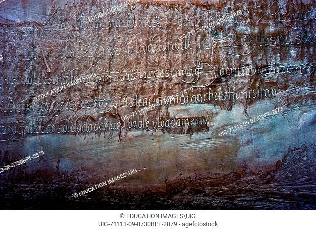 New Mexico, El Morro National Monument, Bluff-side Inscriptions. Stop 22, longest inscription by Governor Eulate in 1620