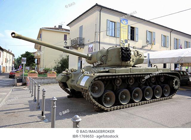 The famous tank from the Don Camillo movie in front of the Don Camillo and Peppone Museum in Brescello, Emilia Romagna, Italy, Europe