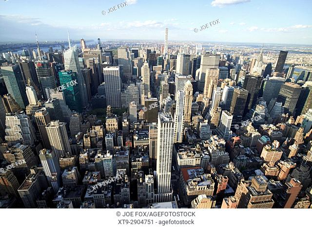 aerial view of midtown north central manhattan viewed from empire state building observatory New York City USA