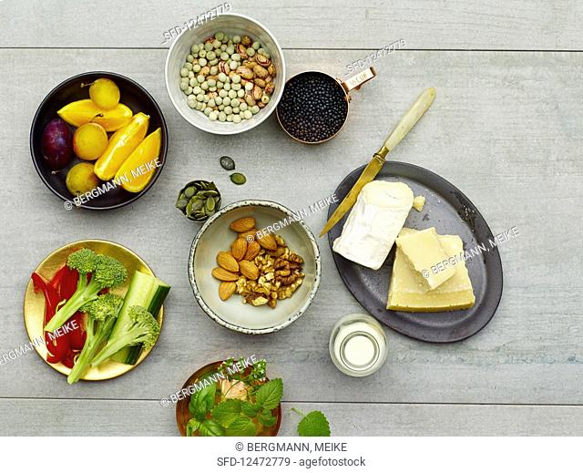 Groceries for low-carb vegetarian cuisine