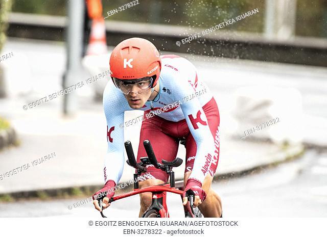 Ruben Guerreiro at Zumarraga, at the first stage of Itzulia, Basque Country Tour. Cycling Time Trial race