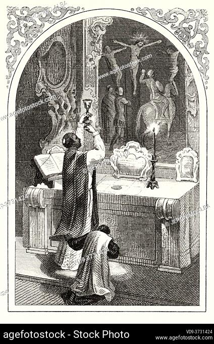 Ceremony of raising the chalice in the holy mass of the Catholic Church. Old XIX century engraving illustration. Old 1852 Epithalamion