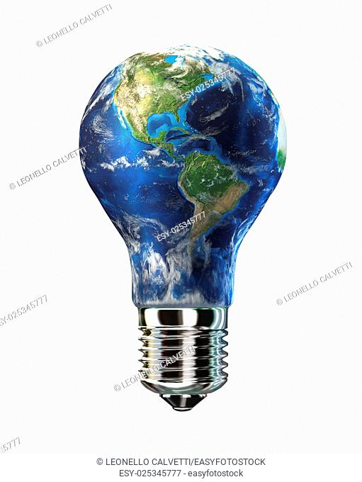 Light bulb with planet Earth in place of glass. Amaricas view. On white background. Clipping path included