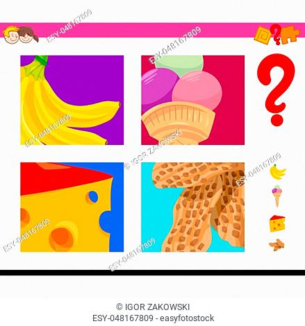 Cartoon Illustration of Educational Game of Guessing Food Objects
