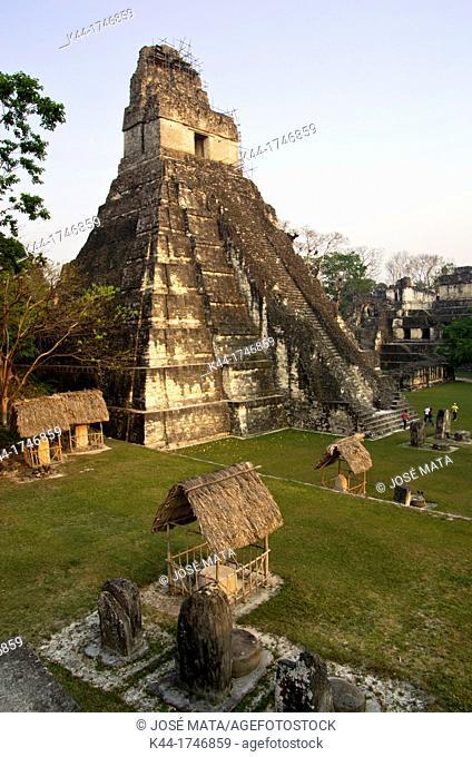 Temple I, Grand Jaguar, at sunset. Tikal, Petén, Guatemala