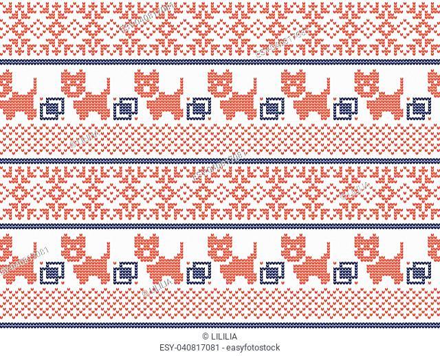 Christmas New Year's winter seamless festive Norwegian pixel pattern - Scandinavian style 2018