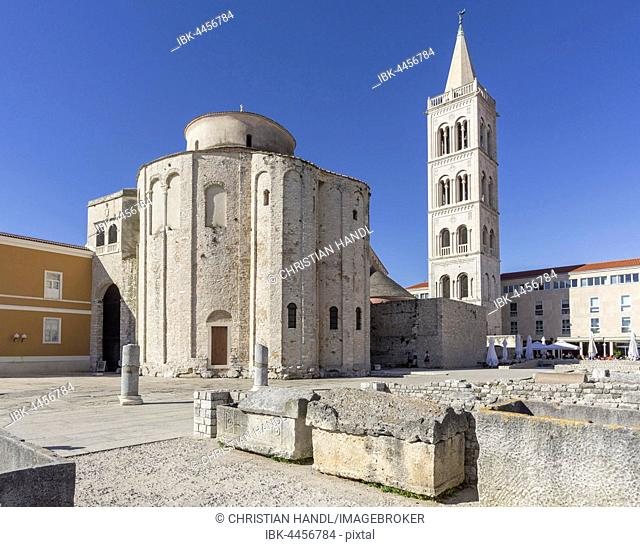 Roman Forum, St. Donatus Church, cathedral and bell tower, Zadar, Croatia