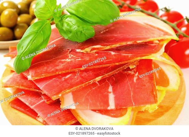 Sliced prosciutto crudo