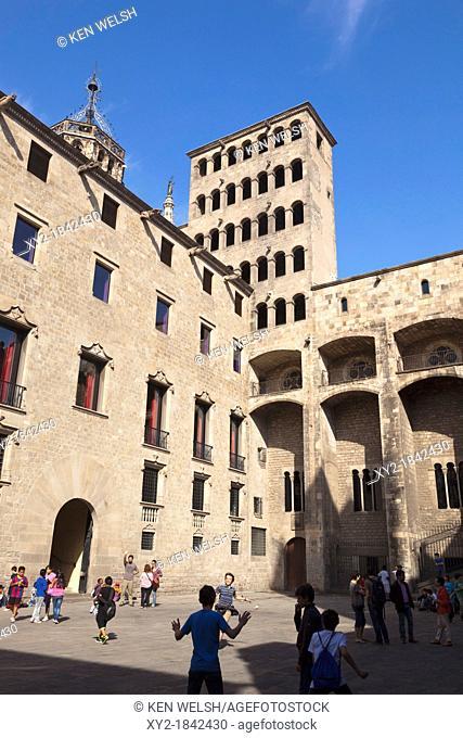 Barcelona, Spain  The medieval Plaça del Rei in the Gothic Quarter