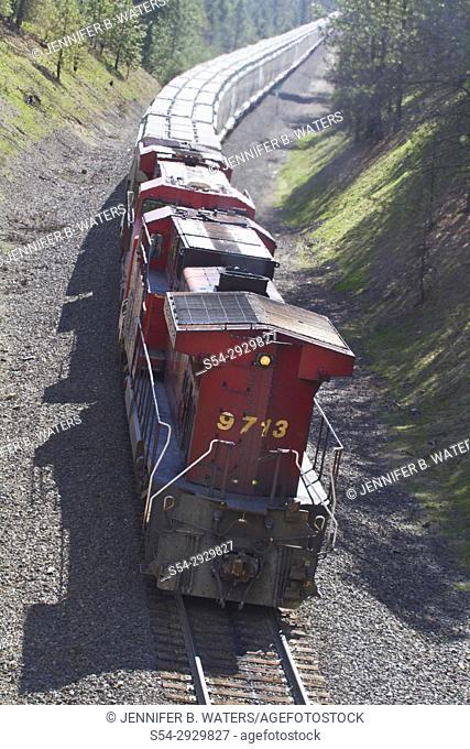 Canadian Pacific DPU on BNSF train in Spokane, Washington, USA