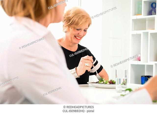 Businesswomen at working lunch in office