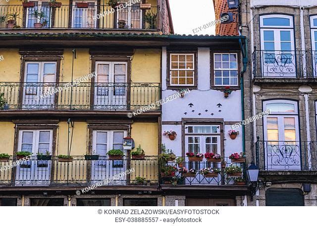 Townhouses in Largo da Oliveira square in the UNESCO historic centre of Guimaraes city in Minho Province of northern Portugal