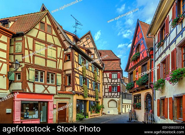 Historical street in Colmar city center, Alsace, France