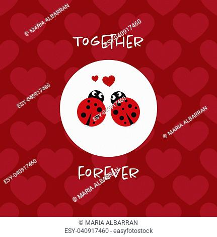 Together forever card with ladybugs