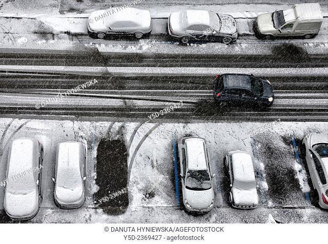 winter street scene, snowfall, Geneva, Switzerland