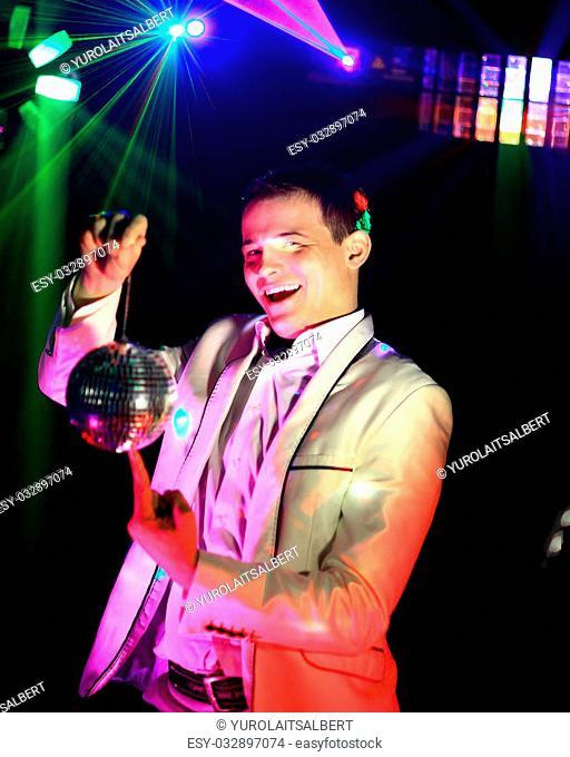 Cool nightclub party dj portrait