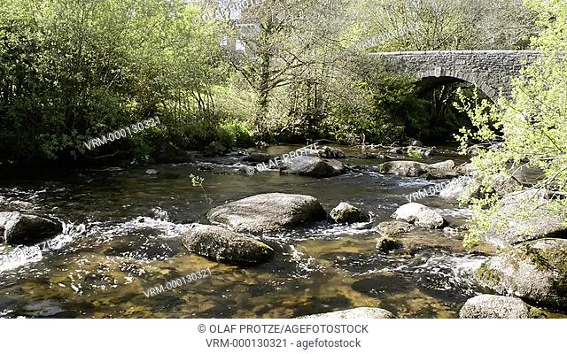 Stone bridge at the Dartmoor National Park near Badgers Holt, Devon, England, UK