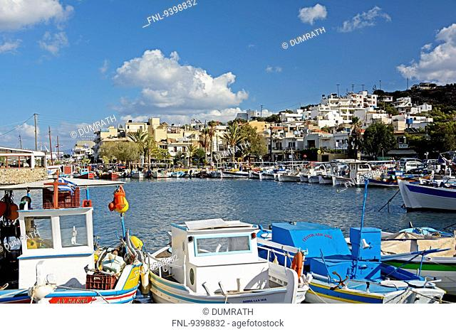 Townscapewith fishing boats, Elounda, Crete, Greece